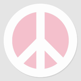 Pale Pink Peace Symbol Classic Round Sticker