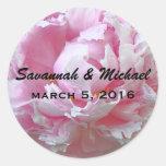 Pale Pink Peony Wedding Favor Label Sticker