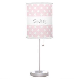 Pale Pink Polka Dots Custom Name V084 Desk Lamp