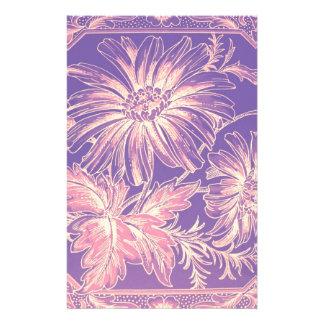 Pale Pink Purple Lilac Violet Flower Graphic Art Custom Stationery