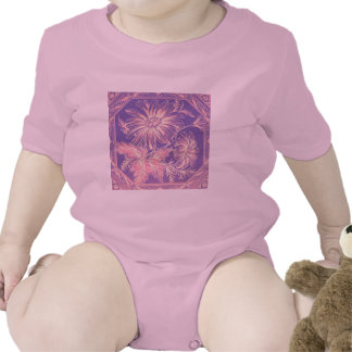 Pale Pink Purple Lilac Violet Flower Graphic Art Baby Bodysuits