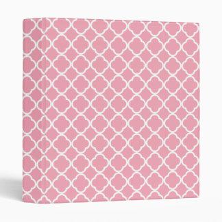 Pale Pink Quatrefoil 3 Ring Binder
