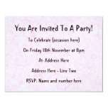 "Pale Pink Random Background Pattern. 4.25"" X 5.5"" Invitation Card"