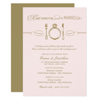 Pale Pink Rehearsal Dinner | Eat Drink Be Married Card