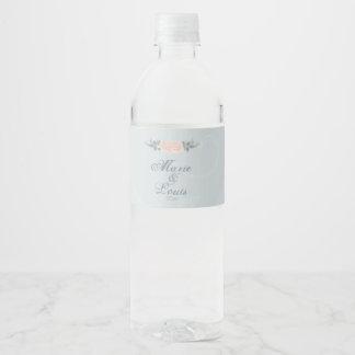 Pale Pink Romantic Rose Water Bottle Label