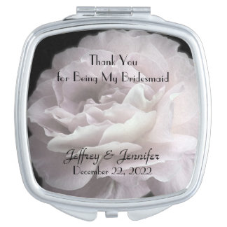 Pale Pink Rose Bridesmaid Thank You Custom Mirror For Makeup