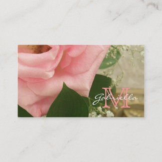Pale Pink Rose: Monogram Business Cards