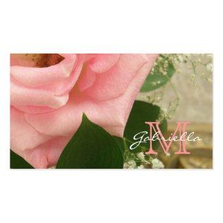 Pale Pink Rose: Monogram Business Cards