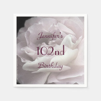 Pale Pink Rose Paper Napkins, 102nd Birthday Party Napkin