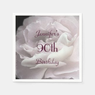 Pale Pink Rose Paper Napkins, 90th Birthday Party