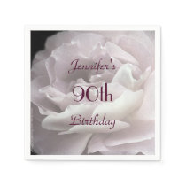 Pale Pink Rose Paper Napkins, 90th Birthday Party Paper Napkin