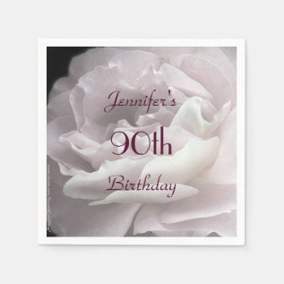 Pale Pink Rose Paper Napkins, 90th Birthday Party Paper Napkin at Zazzle