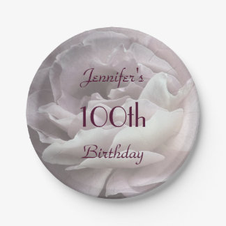 Pale Pink Rose Paper Plates, 100th Birthday Party Paper Plate
