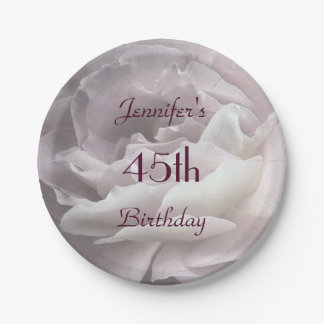 Pale Pink Rose Paper Plates, 45th Birthday Party Paper Plate