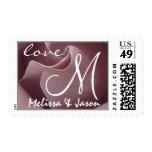 PALE PINK Rose Wedding Monogram Bride Groom Postage Stamp
