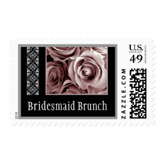 PALE PINK Roses and Lace Bridesmaid Brunch Postage Stamps