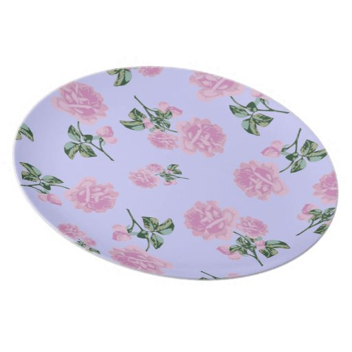 Pale Pink Roses country chic lilac floral plate