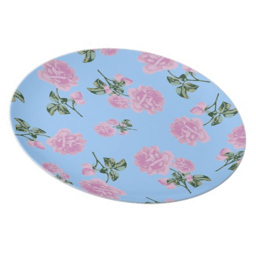 Pale Pink Roses country cottage blue floral plate