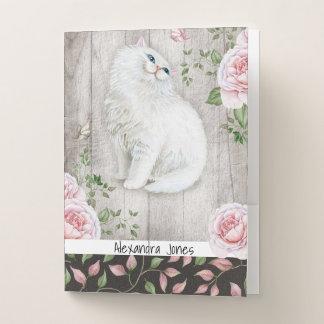 Pale Pink Roses Cute Cat Black Floral Rose Pattern Pocket Folder