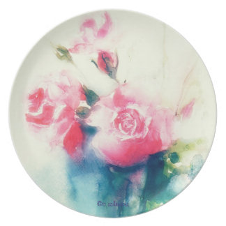 pale pink roses, floral watercolor painting, plate
