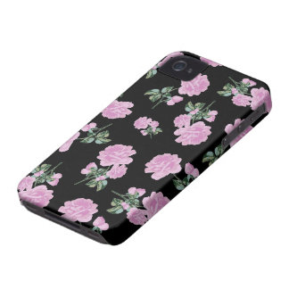Pale Pink Roses - flower pattern on black iPhone 4 Case-Mate Case