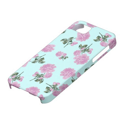 Pale Pink Roses - flower pattern on blue iPhone 5 Cases