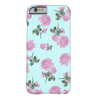 Pale Pink Roses - flower pattern on blue Barely There iPhone 6 Case