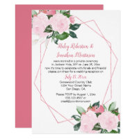 Pale Pink Roses Geometric Reception Only | Invitation