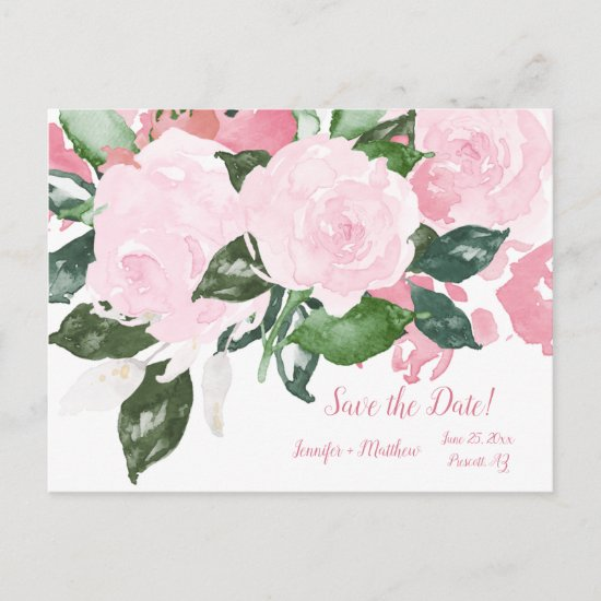Pale Pink Roses Green Leaves Save The Date | Announcement Postcard
