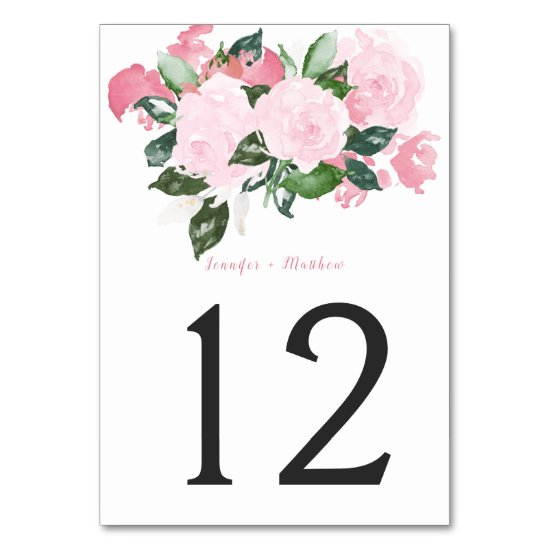 Pale Pink Roses Green Leaves Table | Table Number