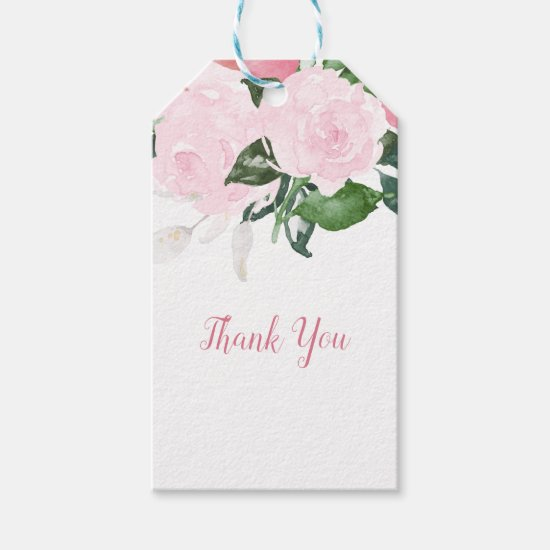Pale Pink Roses Green Leaves Thank You | Gift Tags