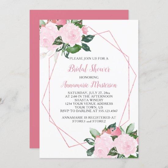 Pale Pink Roses Greenery Geometric Bridal Shower Invitation