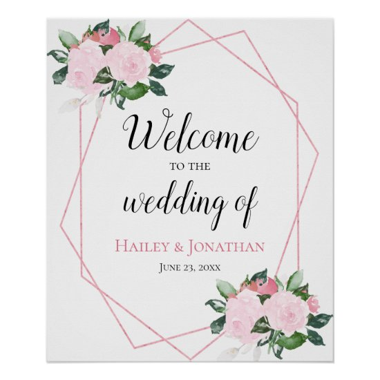 Pale Pink Roses Greenery Geometric Wedding Sign