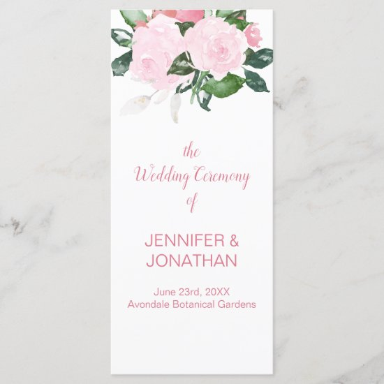 Pale Pink Roses Greenery Wedding Program