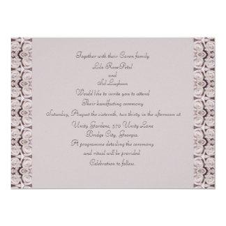 Pale Pink Roses Horseshoe Handfasting Card