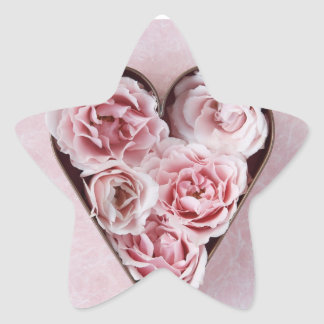 pale pink roses in a cookie cutter star stickers