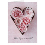 pale pink roses in a cookie cutter thank you card