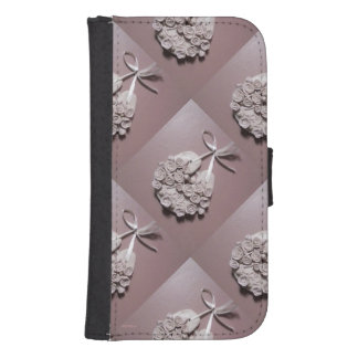 Pale Pink Roses Love Horseshoe Traditional Galaxy S4 Wallet