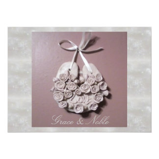 Pale Pink Roses Love Horseshoe Traditional Wedding 5.5x7.5 Paper Invitation Card
