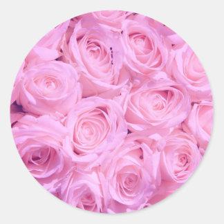 Pale pink roses round sticker