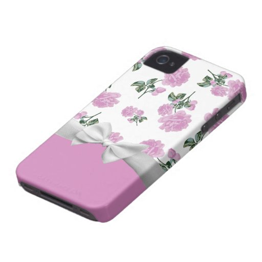Pale Pink Roses with white ribbon and bow iPhone 4 Case-Mate Case