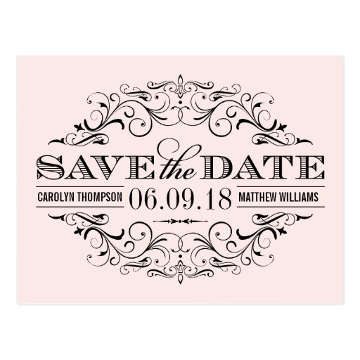 Pale Pink Save the Date   Swirl and Flourish Postcards