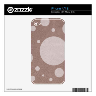 Pale pink Scattered Spots on Taupe Leather Texture Decal For iPhone 4S