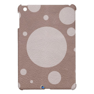 Pale pink Scattered Spots on Taupe Leather Texture iPad Mini Cases
