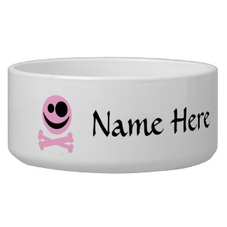 Pale Pink Skull and Crossbones. Pink and Black. Bowl