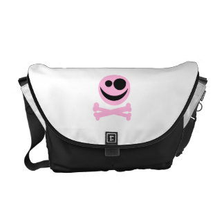 Pale Pink Skull and Crossbones. Pink and Black. Messenger Bags
