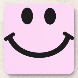 Pale Pink Smiley Face Square Coaster