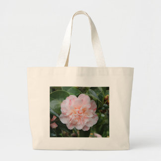 Pale pink striped camellia large tote bag