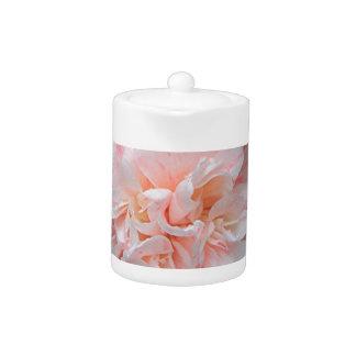 Pale pink striped camellia teapot