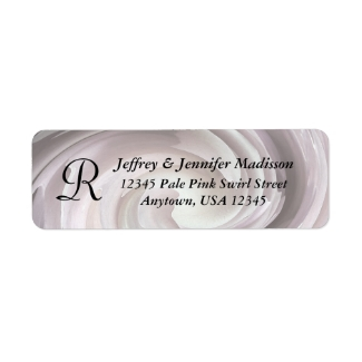 Pale Pink Swirl Name and Address Label Monogram